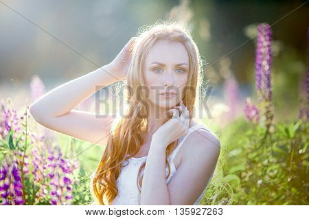 Beautiful young girl over blooming lupines, sunset
