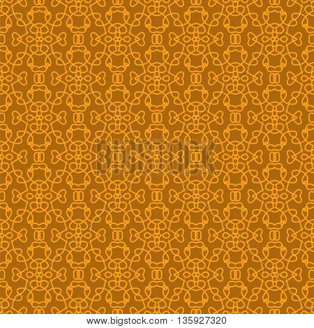 Seamless Texture on Orange. Element for Design. Ornamental Backdrop. Pattern Fill. Ornate Floral Decor for Wallpaper. Traditional Decor on Background