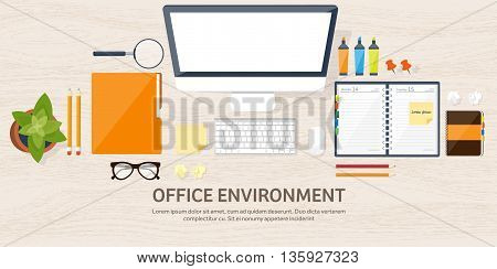 Workplace with table and computer. Computer, documents, papers, notepad, pencil. Paperwork. Office work, job. Workspace management. Creative design.