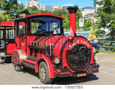 Neuhausen am Rheinfall, Switzerland - 22 June, 2016: Rhyfall Express vehicle