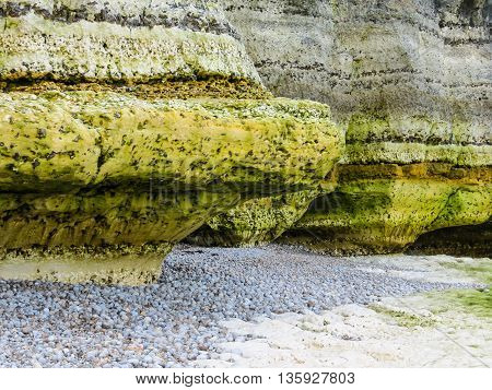 The coast of English Channel. Coastal erosion. Etretat, Normandy, France