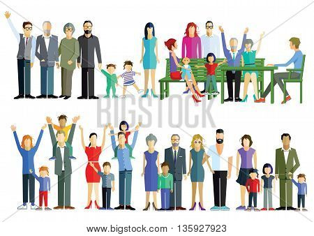 Family meeting, grandchildren, child, mother,  father, baby, grandmother, grandfather,