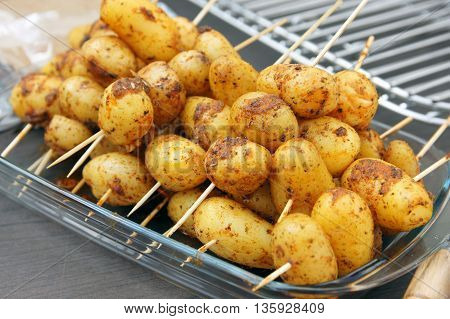 new potatoes nicely arranged. a delicacy of food