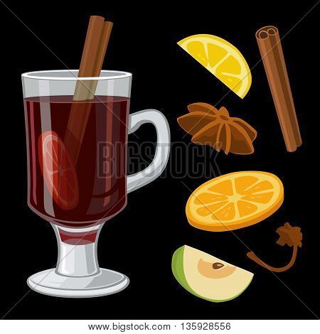 Mulled wine with glass of drink and ingredients. Vector flat illustration for greeting card invitation banner and poster