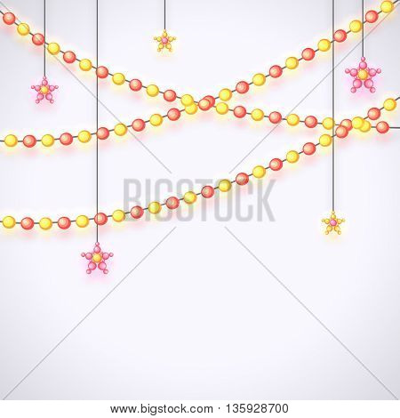 Beautiful Hanging Stars and Pearls decorated background with space for your wishes, Can be used as Greeting Card or Invitation Card design for Muslim Community Festivals celebration.