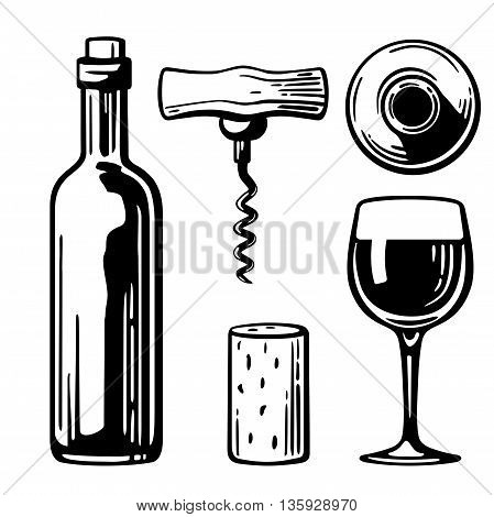 Bottle glass corkscrew cork. Side and top view. Black and white vintage vector illustration for label poster of wine web set icon