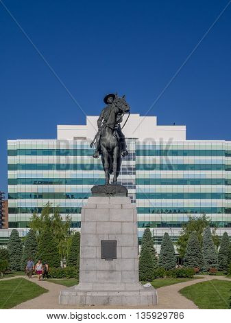 CALGARY, CANADA - JUNE 5: Memorial Park on June 5, 2016 in Calgary, Alberta Canada. Memorial Park is an inner city green space. The statue is a tribute to those s who fought in the Second Boer War