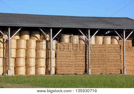 France, horinzontal picture of a  bales of straw in Normandie