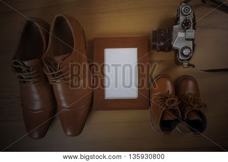 Parent and child shoes fathers day concept.