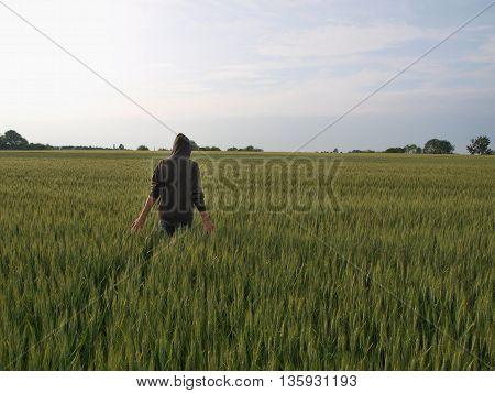 relaxation in a field of grain South Bohemia Czech Republic