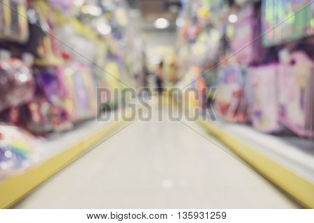 abstract supermarket shelfs blured background with bokeh lights