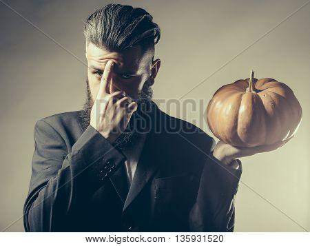 Bearded Man With Pumpkin