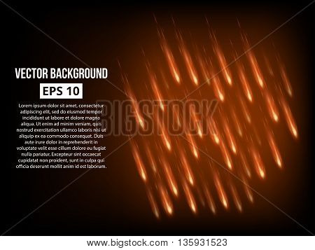 Meteor shower background. Massive bombardment. Vector eps 10