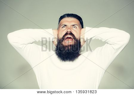 Bearded Man With Shouting Face