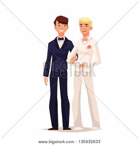 wedding of two gay, comic cartoon vector illustration isolated on white background, a young married couple of two gay men, marriage process two gay person