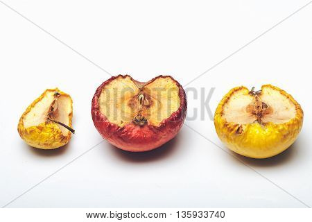 Dried Wrinkled Apple Isolated On White