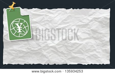 Crumpled paper and globe and yen symbol