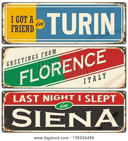 Italian cities and travel destinations. Retro metal plates set on old damaged background.