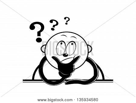 A cartoon man with a surprised face and the question mark