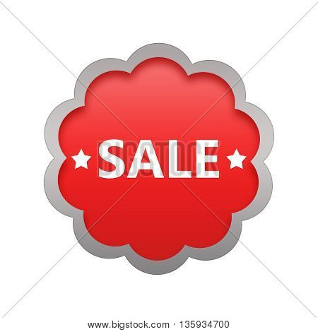 Sale commercial business sign isolated on white background.