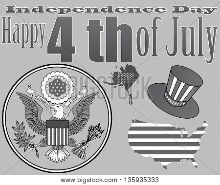 An emblem of the card and a hat to the US Independence Day on a gray background