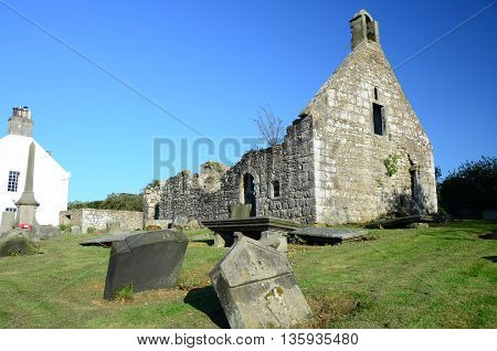 A view of the ruins of an old church in Carnock