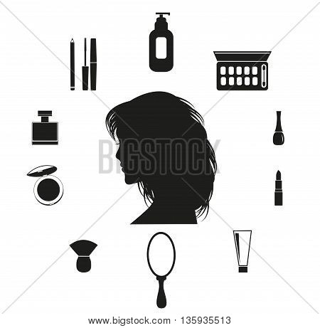 Set of make up icons for woman.