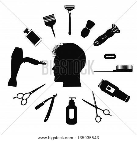 Silhouette of man with Barber tools and haircut icons.