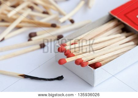 Wooden match in the box and matches on the white