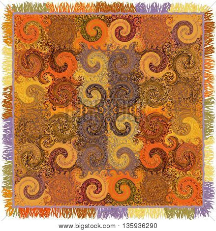 Colorful carpet with ornamental grunge striped and swirled symmetrical pattern and fringe