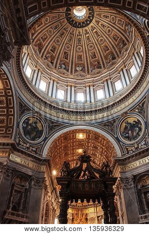 VATICAN CITY, VATICAN - MAY 12, 2012: Interior and architectural details of Basilica of the Saint Peter