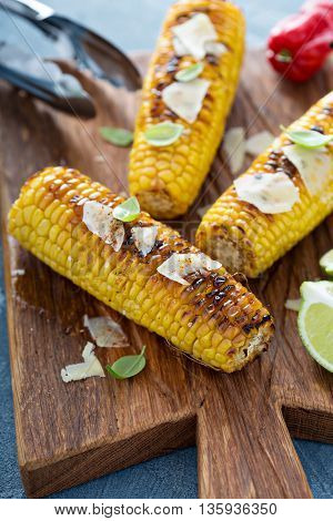 Grilled corn with chili and parmesan cheese