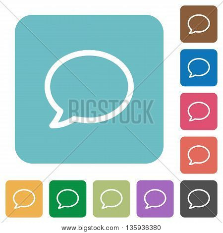 Flat comment icons on rounded square color backgrounds.