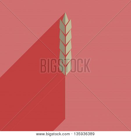 Flat icons with shadow of ear of wheat. Vector illustration