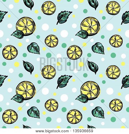 A seamless vector pattern with slices of lemon, green leaves, and color dots.