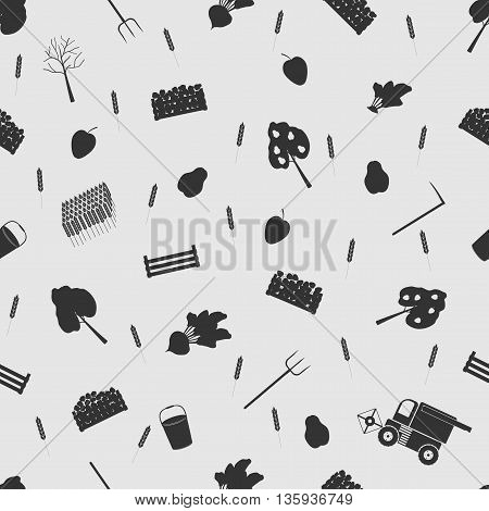 Vector illustration farm on the background seamless pattern. Set of elements