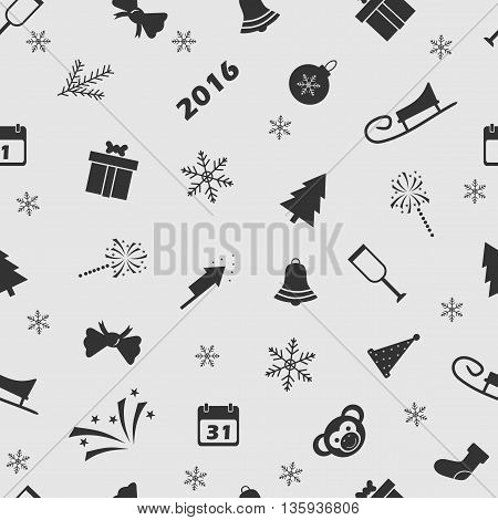 Vector illustration Christmas on the background seamless pattern. Set of elements