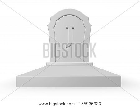 gravestone with uppercase letter j on white background - 3d rendering