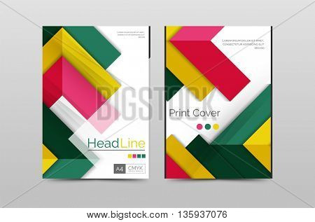 Geometric brochure front page, business annual report cover template, A4 size poster
