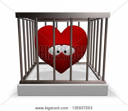 metal cage with red sad heart inside - 3d rendering