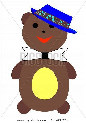 Vector illustration: a smiling bear in a hat and bow on the neck.