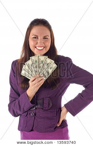 Happy businesswoman on white background