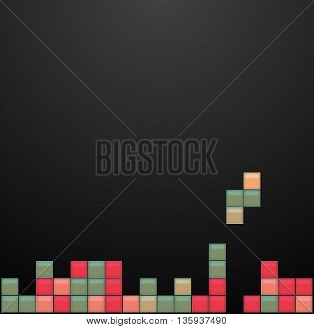 Old video game square template. Colored bricks game pieces. Vector illustration.