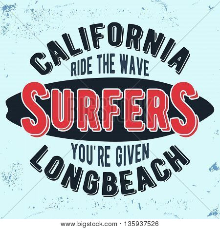 T-shirt print design. California surfers vintage stamp. Printing and badge applique label for t-shirts jeans casual wear. Vector illustration.