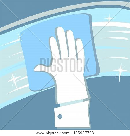 Hand in rubber glove cleaning window vector image