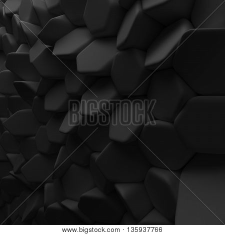 Black abstract squares backdrop. 3d rendering geometric polygons, as tile wall. Interior room