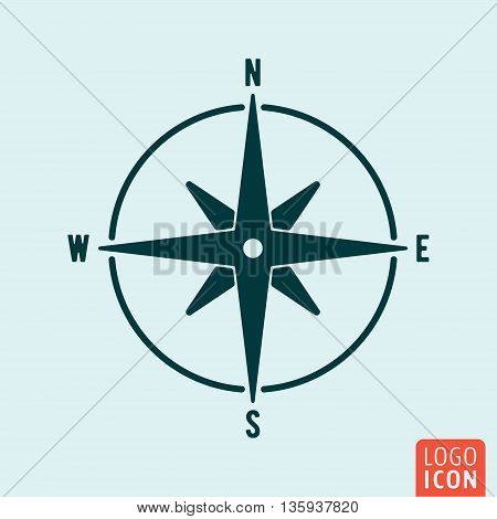 Compass icon isolated. Wind rose symbol. Navigation symbol. Vector illustration
