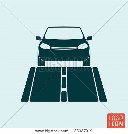Car icon isolated. Car on the road front view. Vector illustration