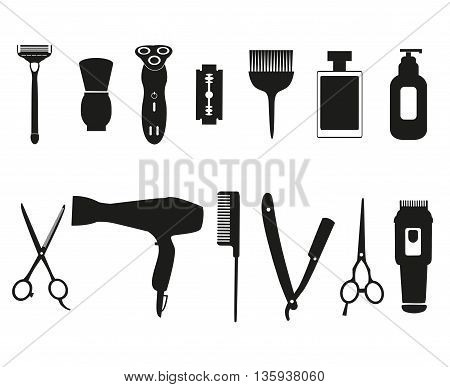 Barber tools and haircut icons set for men.