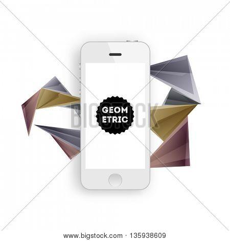 Geometric Vector Background. Mobile Phone Icon